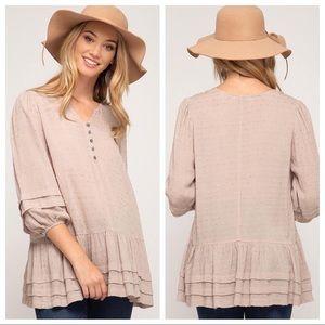 3/4 sleeve polka dot textured woven tunic top